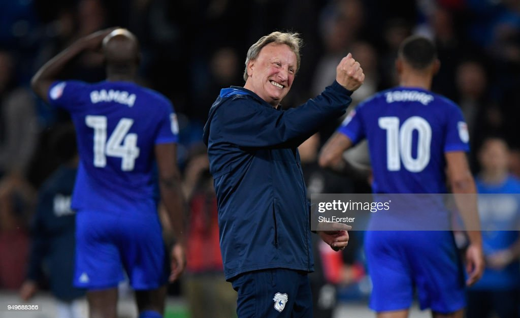 Cardiff manager Neil Warnock celebrates after the Sky Bet Championship match between Cardiff City and Nottingham Forest at Cardiff City Stadium on April 21, 2018 in Cardiff, Wales.