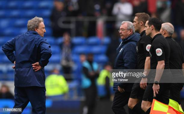 Cardiff manager Neil Warnock confronts Craig Pawson and the officials after the Premier League match between Cardiff City and Chelsea FC at Cardiff...