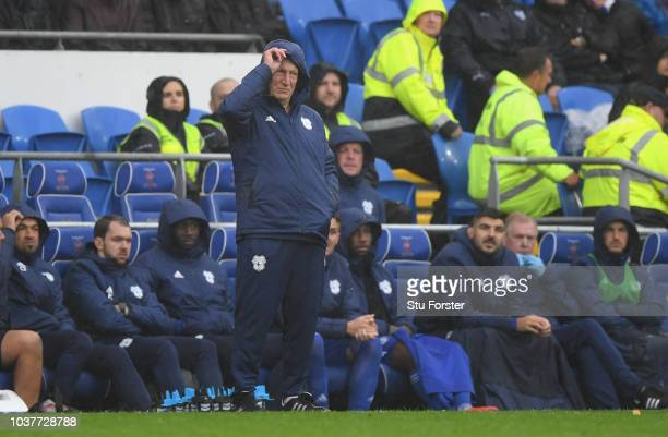 Cardiff manager Neil Warnock looks out from behind his hood during the Premier League match between Cardiff City and Manchester City at Cardiff City...
