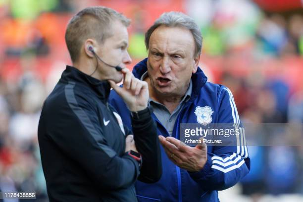 Cardiff manager Neil Warnock protests to the fourth official during the Sky Bet Championship match between Swansea City and Cardiff City at the...