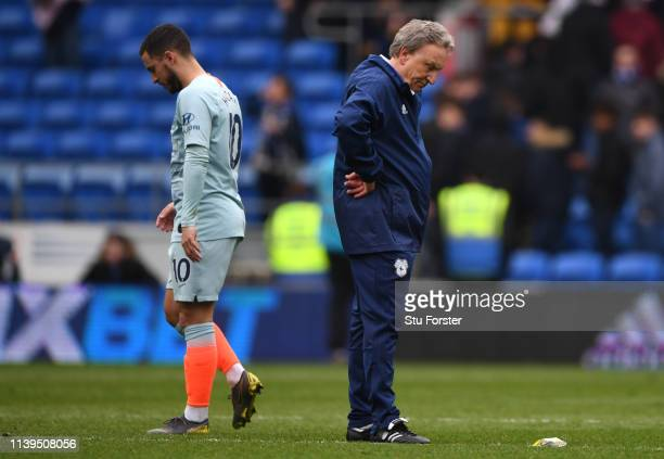 Cardiff manager Neil Warnock reacts as Eden Hazard walks off the pitch after the Premier League match between Cardiff City and Chelsea FC at Cardiff...