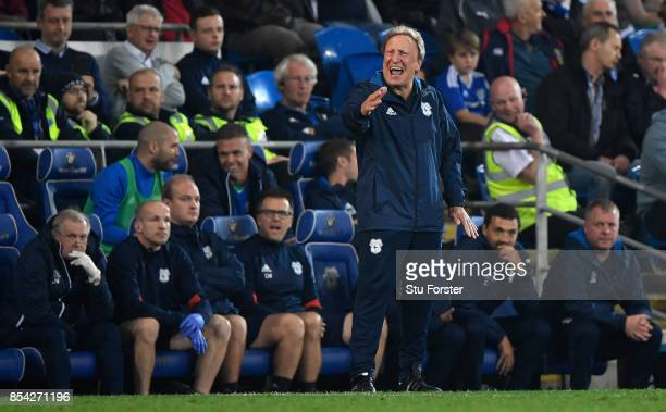 Cardiff Manager Neil Warnock reacts during the Sky Bet Championship match between Cardiff City and Leeds United at Cardiff City Stadium on September...