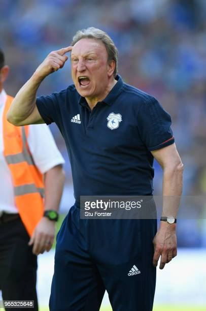 Cardiff manager Neil Warnock reacts during the Sky Bet Championship match between Cardiff City and Reading at Cardiff City Stadium on May 6 2018 in...