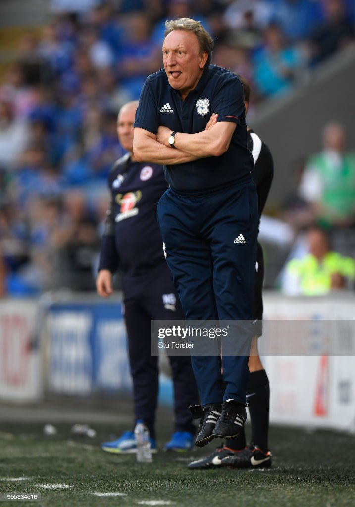 Cardiff manager Neil Warnock reacts during the Sky Bet Championship match between Cardiff City and Reading at Cardiff City Stadium on May 6, 2018 in Cardiff, Wales.