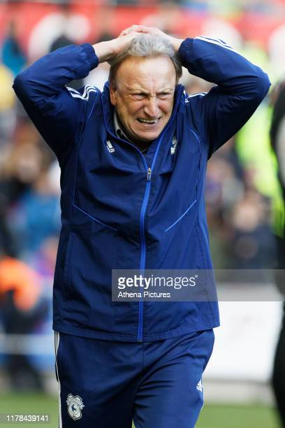 Cardiff manager Neil Warnock reacts on the touch line during the Sky Bet Championship match between Swansea City and Cardiff City at the Liberty...
