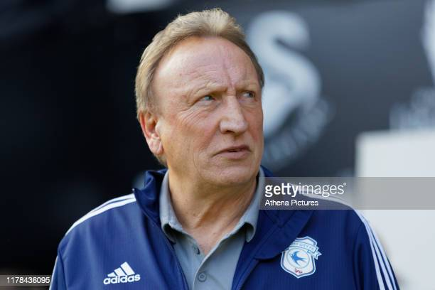 Cardiff manager Neil Warnock stands in the technical area during the Sky Bet Championship match between Swansea City and Cardiff City at the Liberty...