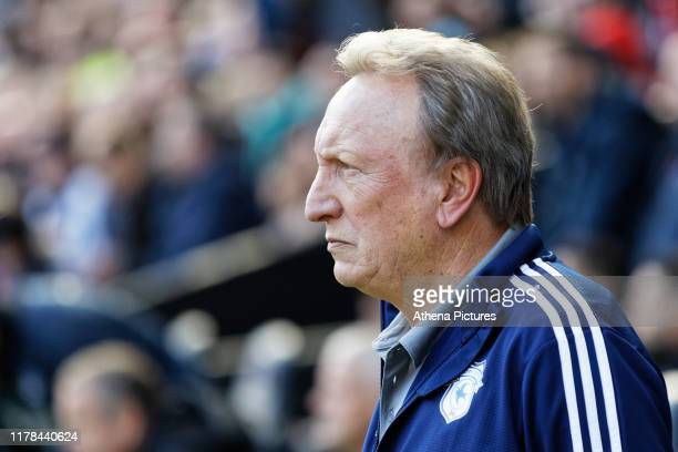 Cardiff manager Neil Warnock stands on the touch line during the Sky Bet Championship match between Swansea City and Cardiff City at the Liberty...