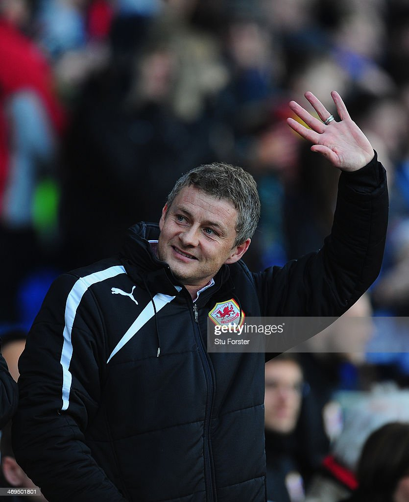Cardiff manager Ole Gunnar Solskjaer looks on before the FA Cup Fifth Round match between Cardiff City and Wigan Athletic at Cardiff City Stadium on February 15, 2014 in Cardiff, Wales.