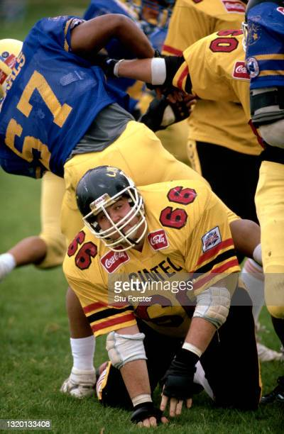 Cardiff Mets lineman Ken Jones watches a successful field goal attempt during a Coca Cola UK American Football League match on May 26th 1991 in...