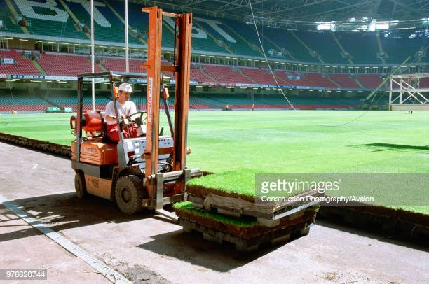 Cardiff Millennium Stadium The turf for the pitch is on pallet units allowing quick removal for maintenance or for converting the stadium for arena...