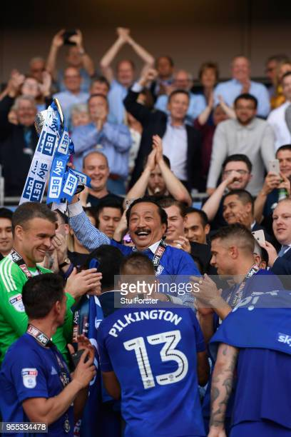 Cardiff owner Vincent Tan holds aloft the runners up trophy after the Sky Bet Championship match between Cardiff City and Reading at Cardiff City...
