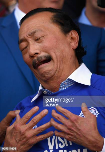 Cardiff owner Vincent Tan reacts after promotion to the premier league after the Sky Bet Championship match between Cardiff City and Reading at...