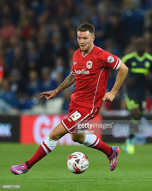 Cardiff player Anthony Pilkington in action during the Sky Bet Championship match between Cardiff City and Middlesbrough at Cardiff City Stadium on...