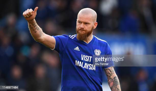 Cardiff player Aron Gunnarsson reacts after the Premier League match between Cardiff City and Crystal Palace at Cardiff City Stadium on May 04 2019...