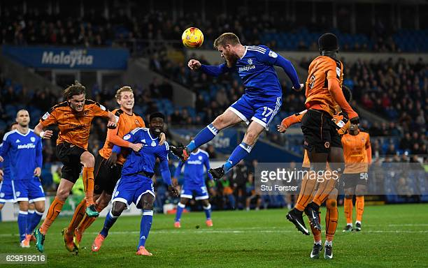 Cardiff player Aron Gunnarsson rises for a cross during the Sky Bet Championship match between Cardiff City and Wolverhampton Wanderers at Cardiff...
