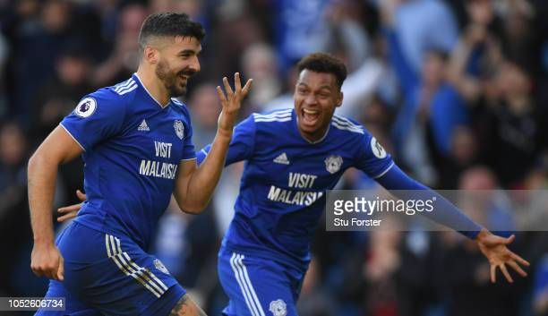 Cardiff player Callum Paterson celebrates after scoring the third goal with Josh Murphy during the Premier League match between Cardiff City and...