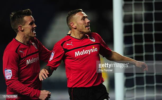 Cardiff player Craig Bellamy and Craig Conway celebrate the second goal during the npower Championship match between Blackburn Rovers and Cardiff...