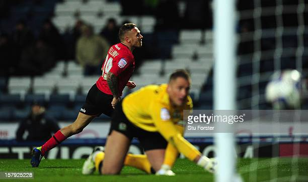 Cardiff player Craig Bellamy celebrates the second goal during the npower Championship match between Blackburn Rovers and Cardiff City at Ewood park...