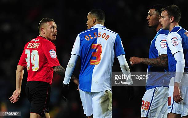 Cardiff player Craig Bellamy has words with the Blackburn players during the npower Championship match between Blackburn Rovers and Cardiff City at...