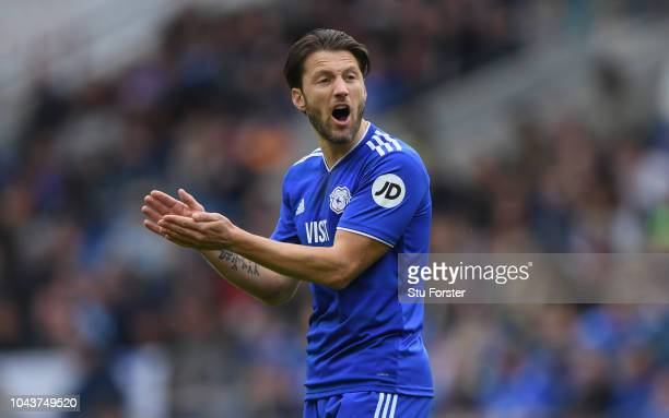 Cardiff player Harry Arter reacts during the Premier League match between Cardiff City and Burnley FC at Cardiff City Stadium on September 30 2018 in...