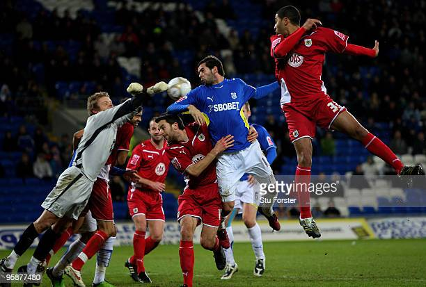 Cardiff player Joe Ledley in action during the FA Cup sponsored by EON 3rd Round Replay match between Cardiff City and Bristol City at Cardiff City...