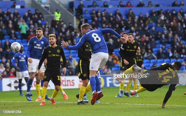 Cardiff player Joe Ralls heads to score the 2nd Cardiff goal during the Sky Bet Championship match between Cardiff City and Brentford at Cardiff City...
