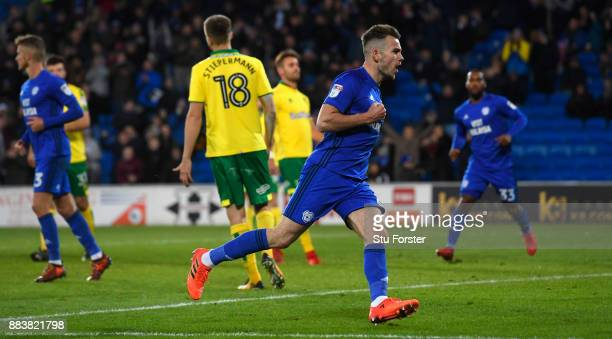 Cardiff player Joe Ralls scores the first City goal from the penalty spot during the Sky Bet Championship match between Cardiff City and Norwich City...