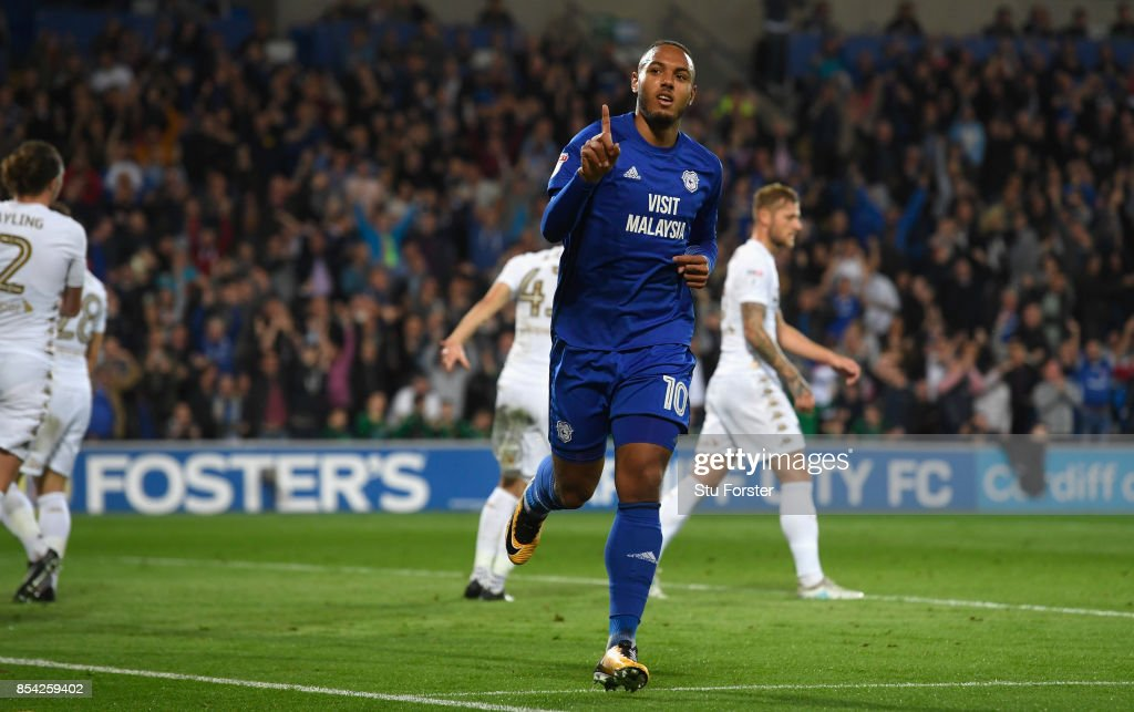 Cardiff player Kenneth Zohore celebrates after scoring the opening goal during the Sky Bet Championship match between Cardiff City and Leeds United at Cardiff City Stadium on September 26, 2017 in Cardiff, Wales.