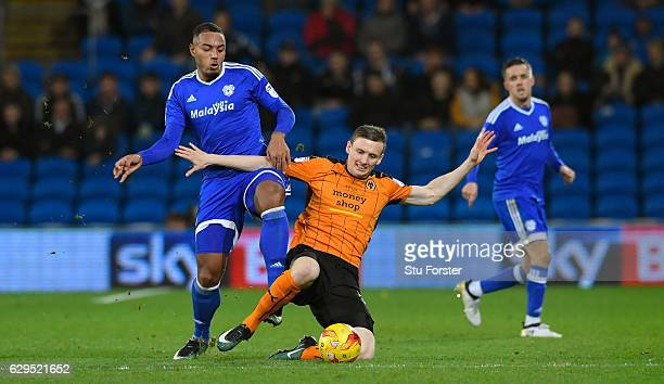 Cardiff player Kenneth Zohore challenges Jon Dadi Bodvarsson of Wolves during the Sky Bet Championship match between Cardiff City and Wolverhampton...