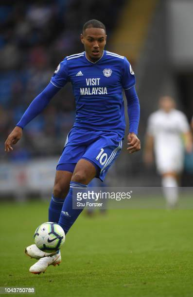 Cardiff player Kenneth Zohore in action during the Premier League match between Cardiff City and Burnley FC at Cardiff City Stadium on September 30...