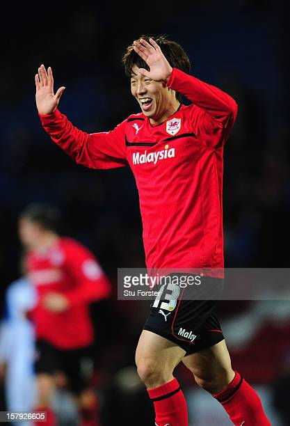 Cardiff player Kim Bo-Kyung celebrates his goal during the npower Championship match between Blackburn Rovers and Cardiff City at Ewood park on...