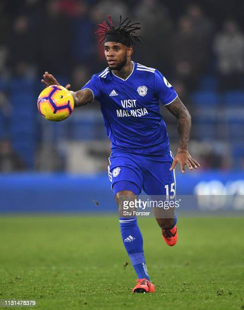 Cardiff player Leandro Bacuna in action during the Premier League match between Cardiff City and Watford FC at Cardiff City Stadium on February 22...