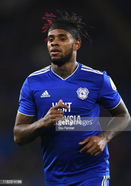 Cardiff player Leandro Bacuna in action during the Premier League match between Cardiff City and Everton FC at Cardiff City Stadium on February 26...