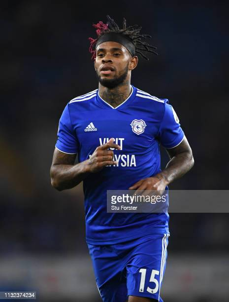 Cardiff player Leandro Bacuna in action during the Premier League match between Cardiff City and Everton FC at Cardiff City Stadium on February 26,...