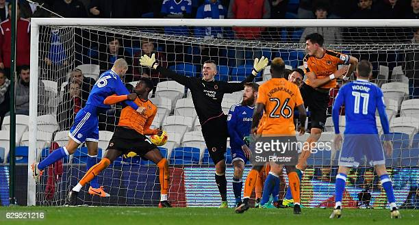 Cardiff player Matthew Connolly scores the first Cardiff goal during the Sky Bet Championship match between Cardiff City and Wolverhampton Wanderers...