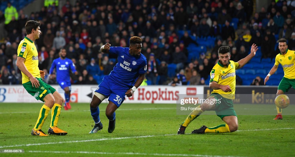 Cardiff player Omar Bogle scores the third City goal during the Sky Bet Championship match between Cardiff City and Norwich City at Cardiff City Stadium on December 1, 2017 in Cardiff, Wales.