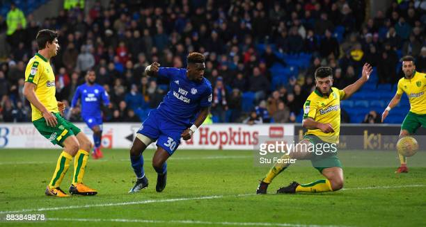 Cardiff player Omar Bogle scores the third City goal during the Sky Bet Championship match between Cardiff City and Norwich City at Cardiff City...