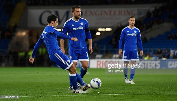 Cardiff player Peter Whittingham scores the opening goal from a free kick during the Sky Bet Championship match between Cardiff City and Sheffield...