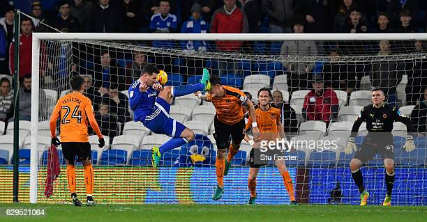 Cardiff player Sean Morrison catches Wwolves captain Danny Batth on the head during the Sky Bet Championship match between Cardiff City and...