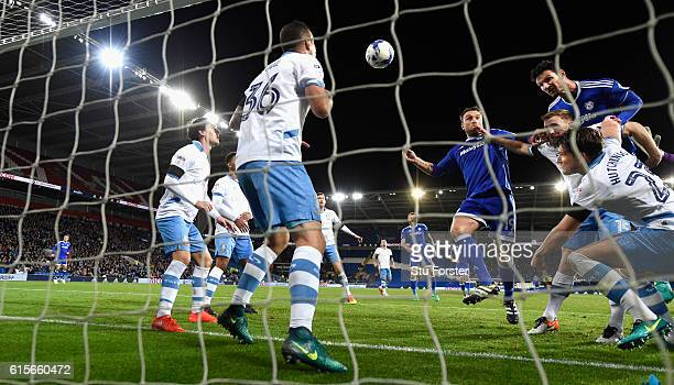 Cardiff player Sean Morrison gets in a header which is cleared off the line during the Sky Bet Championship match between Cardiff City and Sheffield...