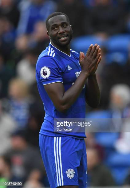 Cardiff player Sol Bamba reacts as Cardiff loose 21 during the Premier League match between Cardiff City and Burnley FC at Cardiff City Stadium on...