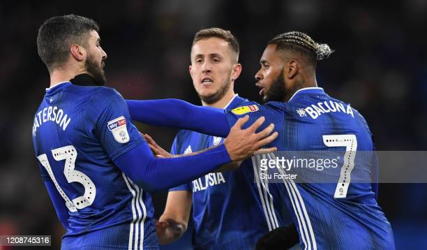 Cardiff player Will Vaulks steps in between team mates Callum Paterson and Leandro Bacuna at the final whistle after the Sky Bet Championship match...