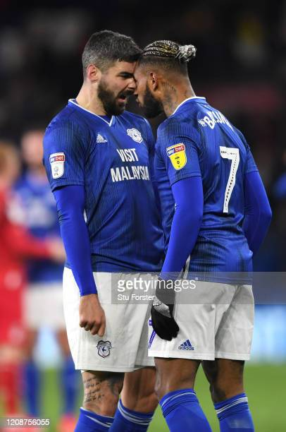 Cardiff players Callum Paterson and team mate Leandro Bacuna go head to head at the final whistle after the Sky Bet Championship match between...