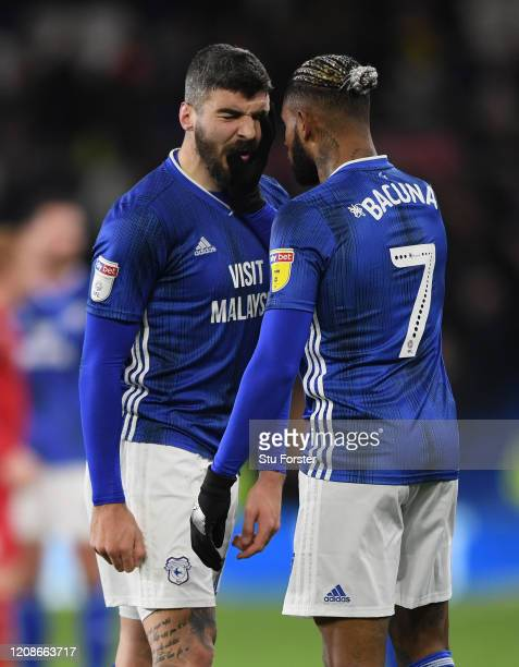 Cardiff players Callum Paterson and team mates Leandro Bacuna go head to head at the final whistle after the Sky Bet Championship match between...