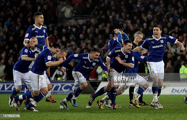 Cardiff players celebrate as their team wins 31 in the penalty shootout during the Carling Cup Semi Final second leg match between Cardiff City and...