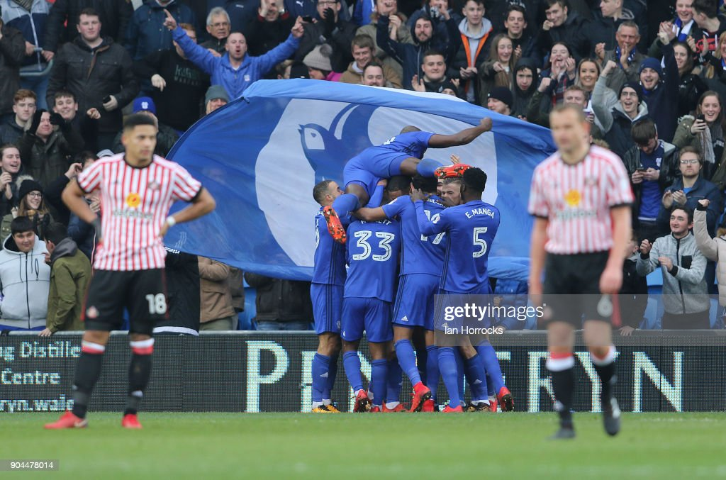Cardiff players celebrate the third goal during the Sky Bet Championship match between Cardiff City and Sunderland at Cardiff City Stadium on January 13, 2018 in Cardiff, Wales.
