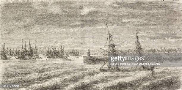 Cardiff port, United Kingdom, drawing by Jean-Baptiste Henri Durand-Brager from A visit to the great workshops of Wales by Louis Laurent Simonin ,...