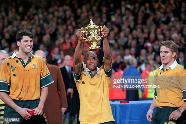 Cardiff rugby World Cup 1999 Australia defeats France in Cardiff United Kingdom on November 06 1999 John Eales and George Gregan