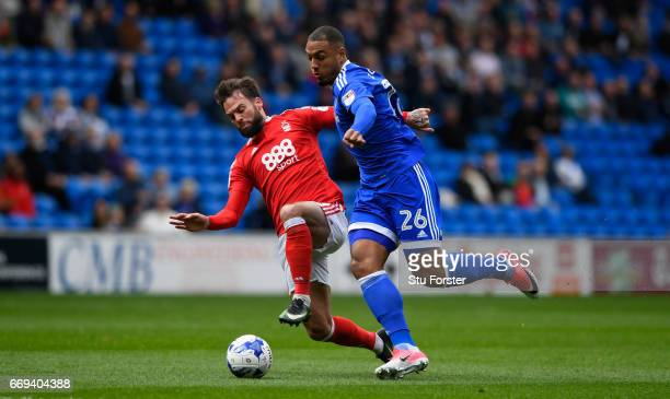 Cardiff striker Kenneth Zohore is challenged by Daniel Fox of Forest during the Sky Bet Championship match between Cardiff City and Nottingham Forest...