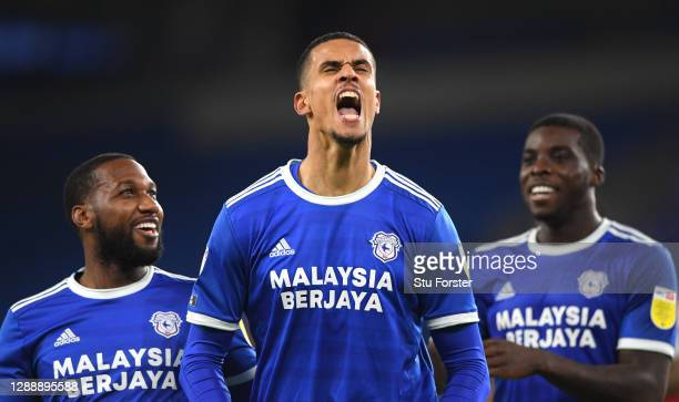 Cardiff striker Robert Glatzel celebrates his goal with Junior Hoilett after scoring the third Cardiff goal during the Sky Bet Championship match...